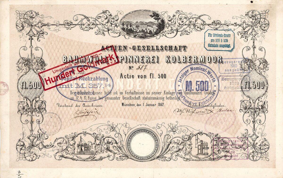 Baumwoll-Spinnerei Kolbermoor, Gründeraktie über 500 Gulden von 1862. Nach und nach entwickelte sich der Kolbermoor-Konzern zu einer der größten Textilgruppen in Deutschland, deren Blütezeit in den 20er/30er Jahren des 20. Jahrhunderts lag.