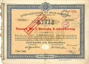 Los Nr. 838 AG für Anilin-Fabrikation, Berlin-Treptow, 1914 (AGFA) Ausruf: 1.500,- Euro / Zuschlag: 3.200,- Euro