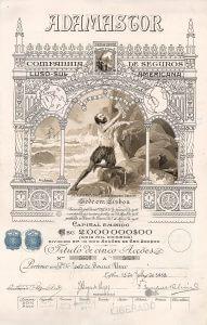 Adamastor Companhia de Seguros Luso-Sul Americana, Lissabon, Aktie von 1918. Hochdekorative Aktie aus dem Gründungsjahr der Seeversicherung, gestaltet von Alfredo Roque Gameiro (1864-1935)