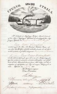 """Ångfartygs-Bolaget Upsala, Aktie von 1841. Die 1841 gegründete Die Reederei baute und betrieb zwei Stahlschiffe mit Schaufelradantrieb, """"Upland"""" und """"Upsala""""."""