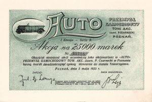 AUTO Automobilindustrie AG vormals R. Czarnecki, Posen, Aktie von 1923.