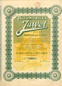 Automobiles Juwel S.A., Herstal (Liége), Aktie über 250 Francs von 1924