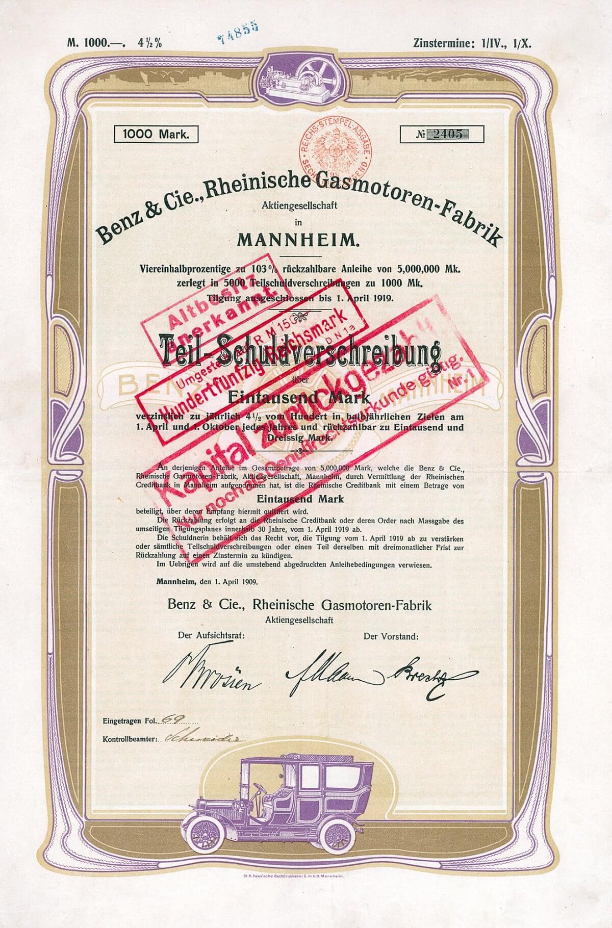 Benz & Cie. Rheinische Gasmotoren-Fabrik AG, Mannheim, Anleihe über 1000 Mark von 1909. Gründung des Unternehmens 1883 durch Carl Benz (im gleichen Jahr konstruiert Gottlieb Daimler den ersten Fahrzeugmotor und erhält auf diesen schnelllaufenden Verbrennungsmotor ein Patent). 1885 entsteht mit dem Benz-Wagen das erste praktisch brauchbare und entwicklungsfähige Automobil der Welt. 1888 erhält Carl Benz für seinen Motorwagen auf der Gewerbe- und Industrie-Ausstellung in München die Goldene Medaille. 1889 sieht man Benz- und Daimler-Wagen auf der Weltausstellung in Paris. 1899 wandelt Carl Benz sein Unternehmen in eine Aktiengesellschaft um.