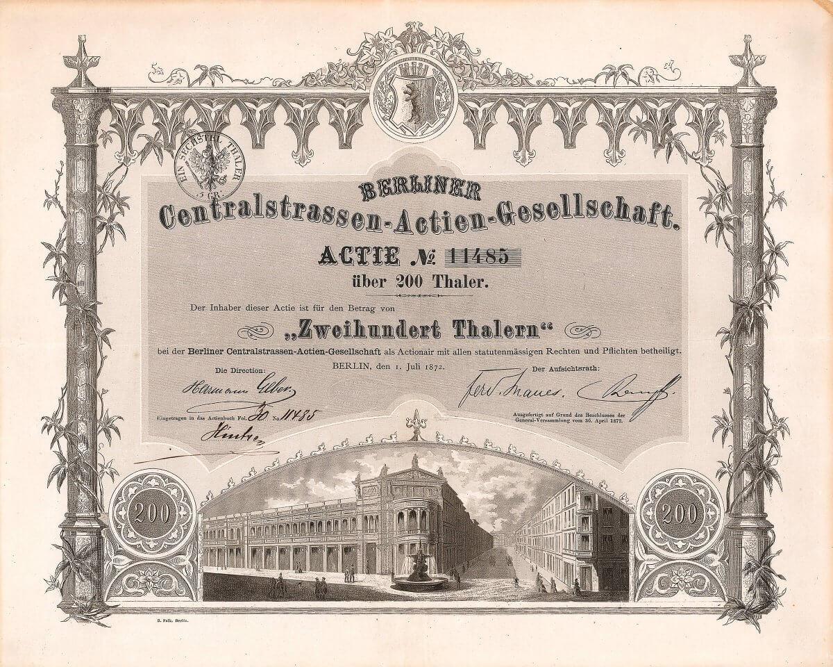 """Berliner Centralstrassen-Actien-Gesellschaft, Berlin, Gründeraktie von 1871. Die Aktie zeigt das typische Bild eines Straßenzuges, wie er von der Gesellschaft aus dem Boden gestampft wurde. Neben der """"Passage"""" die schönste Berliner Terrain-Aktie."""