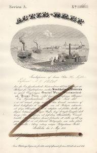 """Bolaget för Ångbåtsfarten emmelan Stockholm och Westerås, Gründeraktie von 1847. Die Gesellschaft betrieb drei Dampfschiffe auf der Strecke Stockholm-Västeras: """"Gustav Wasa"""", """"Westmanland"""" und Yngwe Freji""""."""