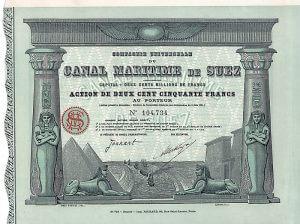Compagnie Universelle du Canal Maritime de Suez, Paris, Aktie über 250 Francs von 1924