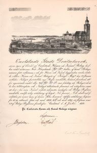 Carlstads Hamn och Kanal-Bolag, Gründeraktie von 1852. Große Abbildung einer Kanalanlage mit Landschafts- und Stadtsilhouette. Zu sehen ist u.a. der bekannte, 1723-30 erbaute Dom, links daneben das Alte Gymnasium, 1754-59 erbaut, heute Bibliothek.