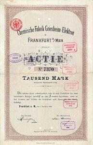 Chemische Fabrik Griesheim-Elektron, Frankfurt a.M., 1898