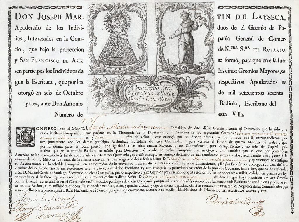 Compañía General de Comercio de los cinco Gremios Mayores, Madrid, Aktie von 1773.