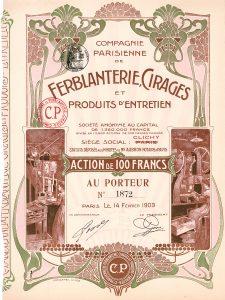 Compagnie Parisienne de Ferblanterie, Cirages & Produits d'Entretien, Aktie von 1903. Die Gesellschaft produzierte Schuhcreme. Eine der schönsten Jugendstilaktien überhaupt!