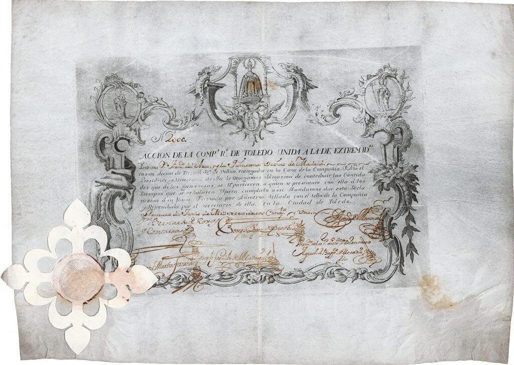 Companhia Real de Toledo unida a la de Extremadura, Aktie von 1751.