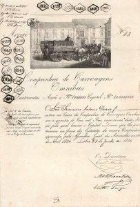 """Companhia de Carroagens Omnibus, Lissabon, Gründeraktie von 1836. Die Gründung des """"Lissaboner Kutschen-Omnibus-Dienstes"""" geht auf das Jahr 1834 zurück und erfolgte unter der Regentschaft von Königin Maria II. Ihr Ehemann, Leopold von Sachsen-Coburg-Gotha war ein Förderer und Ehrengesellschafter des Unternehmens."""