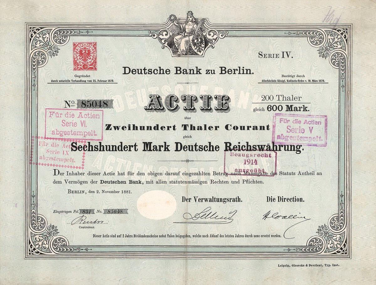 Anlässlich der Kapitalerhöhung wurde die Deutsche Bank - Aktie, die bislang nur in Berlin notiert war, auch an der Frankfurter Börse eingeführt. Dem Vorstand der Bank gehörten 1881 folgende Persönlichkeiten an: Regierungsrat Jonas, R. Koch, Dr. Georg von Siemens, Max Steinthal und Hermann Wallich. Vorsitzender des Aufsichtsrates war Kommerzienrat Delbrück aus dem bekannten Berliner Privatbankhaus
