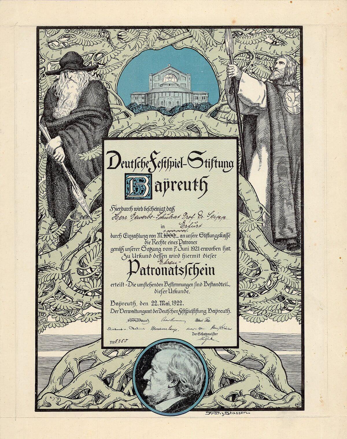 Deutsche Festspiel-Stiftung, Bayreuth, Patronatsschein über 1 Million Mark von 1922. Ein ungemein dekoratives und historisch wichtiges Stück nach einem Entwurf von Franz Stassen, mit Ansicht des Schauspielhauses und Porträt von Richard Wagner.