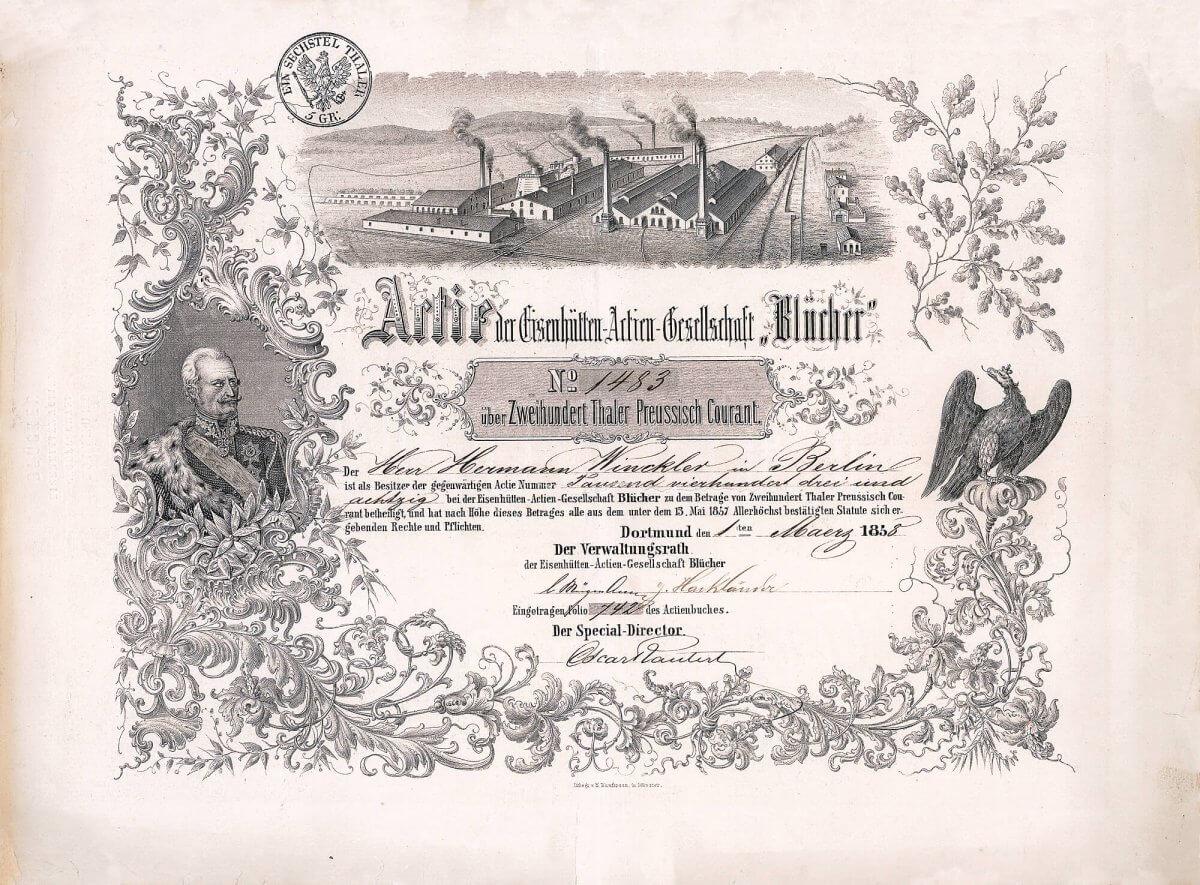 Eisenhütten-AG Blücher, Dortmund, Gründeraktie über 200 Taler von 1858. Die Vignette zeigt den preußischen Generalfeldmarschall Gebhard Leberecht von Blücher (1742-1819). Als eines der beiden Leitbilder auf der Aktie hat man sich mit Bedacht seines Portraits bedient, galt Blücher doch als beharrlich, vorwärtsstrebend und offensiv - ganz so, wie man sich die Führung der Hütte vorstellte und den Anlegern auch entsprechend suggerieren wollte.