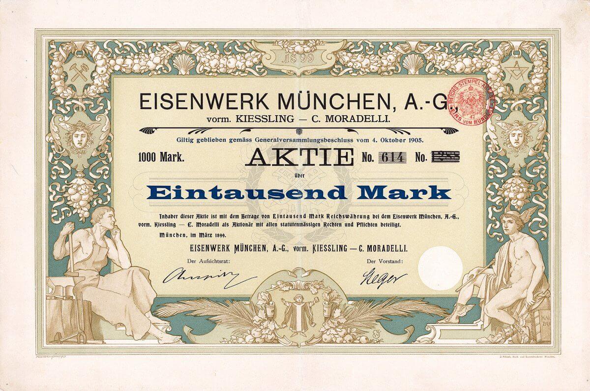 Eisenwerk München AG vorm. Kiessling - C. Moradelli, München, Aktie über 1000 Mark von 1899. Die Gesellschaft spezialisierte sich auf den Bau von Brückenkonstruktionen, Eisenhochbau, Zentralheizungen, Bau von Kranen, Aufzügen, Eisenbetonbauten und Bühneneinrichtungen.