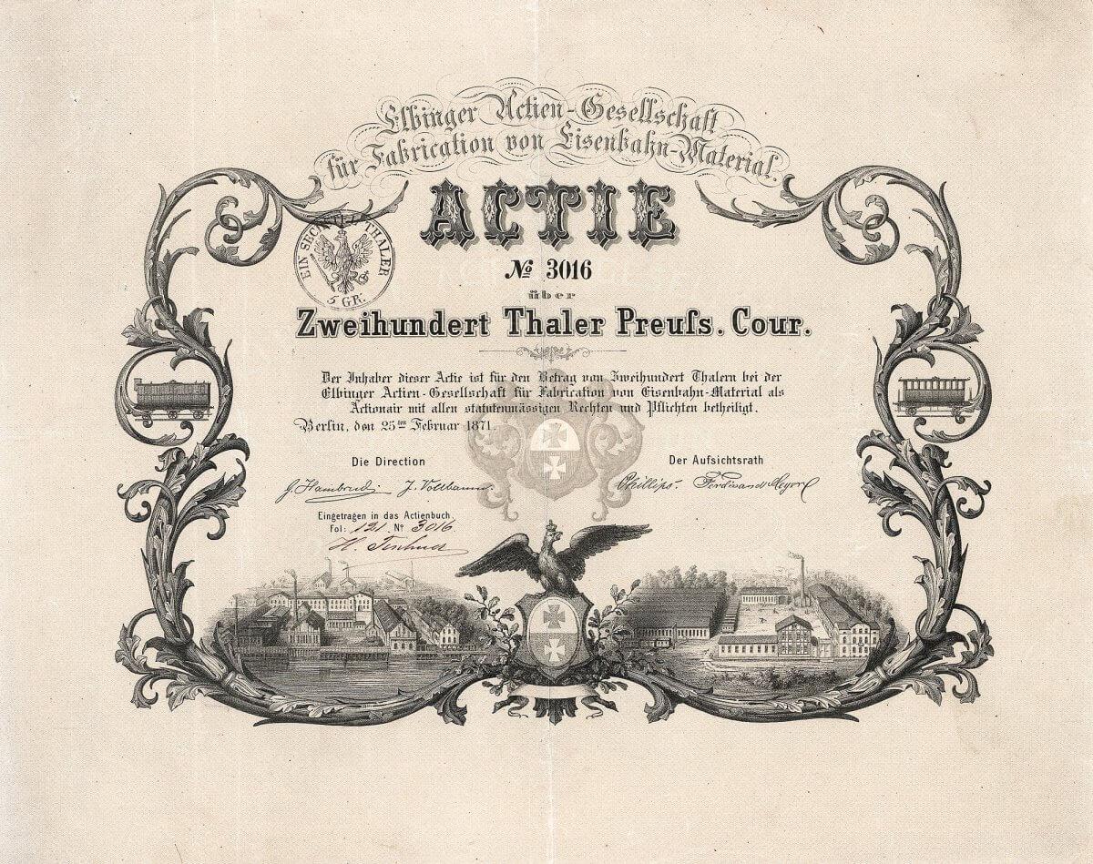 Elbinger AG für Fabrication von Eisenbahn-Material, Berlin, Gründeraktie über 200 Taler von 1871.