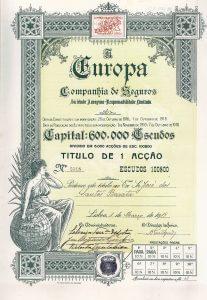 A Europa Companhia de Seguros S.A., Lissabon, Aktie von 1919. Herrliche Aktie der 1916 gegründeten Versicherungsgesellschaft