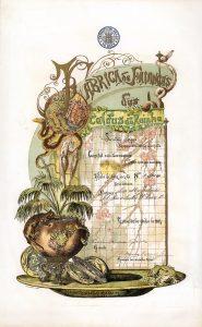Fabrica de Faiancas das Caldas da Rainha, Lissabon, Gründeraktie von 1884, ausgestellt auf Seine Majestät, den König Ludwig I. von Portugal (1838-89), bekannt als Dom Luis I, o Popular. So schön seine kunstvollen Porzellanarbeiten und Faiancen waren, so schön sollte auch die Aktie seiner Firma werden, die der Künstler Bordalho-Pineiro persönlich gestaltete. Die Aktie ist als 11-farbige Original-Handlithografie im Steindruck hergestellt (d.h. sie wurde hintereinander mit elf verschiedenen Drucksteinen bedruckt). Niemals wieder ist ein so aufwendiges und teures Druckverfahren für den Druck eines Wertpapiers eingesetzt worden. Ein einmaliges Kunstwerk, die schönste Aktie die es gibt.