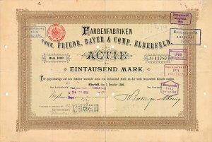 Farbenfabriken vorm. Friedr. Bayer & Comp., Elberfeld, Aktie von 1898