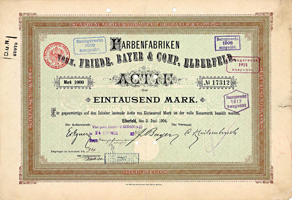 Archiv der I.G. Farbenindustrie-Vorläufer, versteigert am 20.11.2017