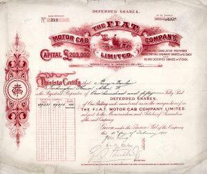 FIAT Motor Cab Company, London, Aktie von 1909