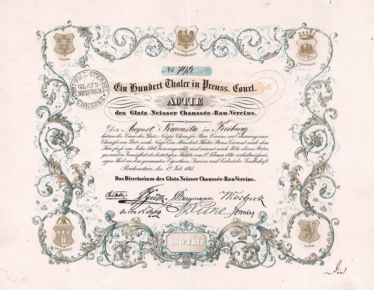 Glatz-Neisser Chaussée-Bau-Verein, Reichenstein. Gründeraktie über 100 Taler von 1847. Mehrfarbige Gestaltung, die Wappen der fünf beteiligten Städte in der Umrahmung sind sogar in Gold gedruckt.