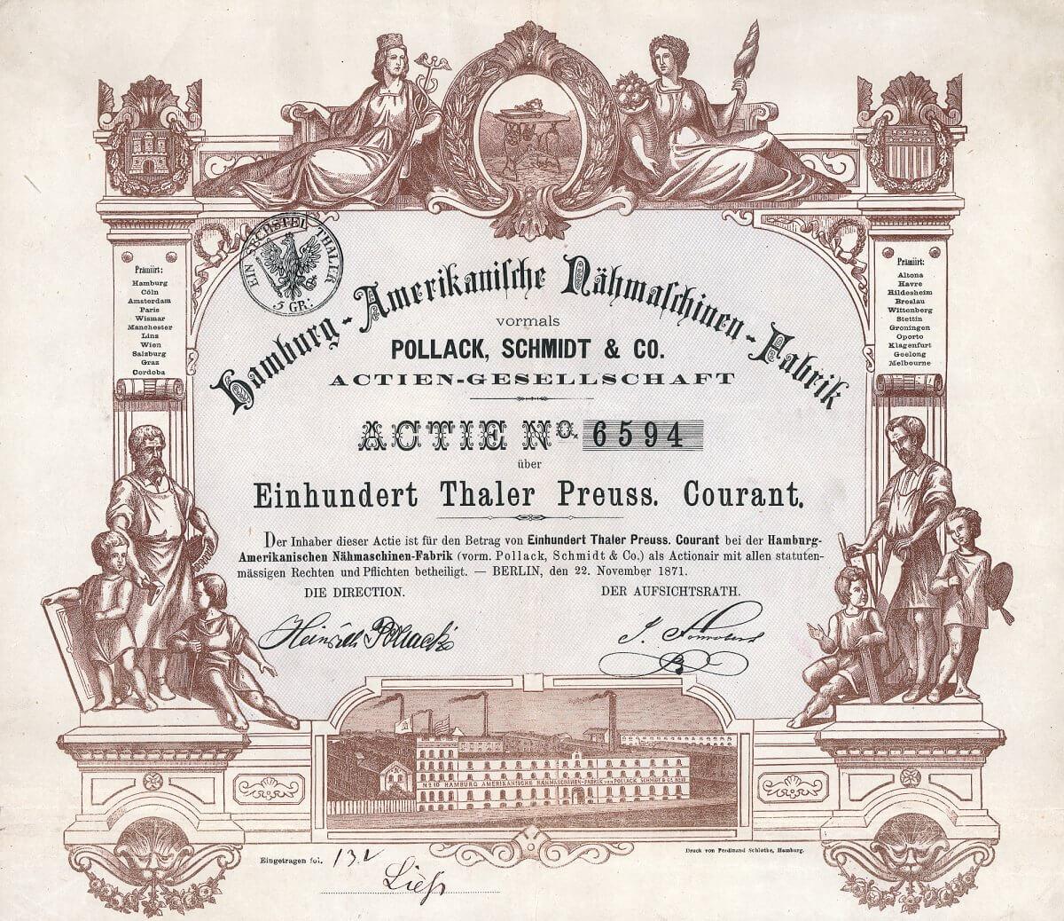 Hamburg-Amerikanische Nähmaschinen-Fabrik vormals Pollack, Schmidt & Co. AG, Berlin, Gründeraktie über 200 Taler von 1871.