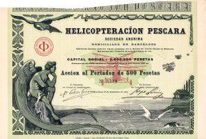 Helicopteracíon Pescara S.A., Barcelona, Gründeraktie von 1919. Marquis Pateras de Pesacara entwickelte im Auftrag der französischen Regierung 1920-1925 Helikopter, die mit Hispano-Suiza-Motoren angetrieben wurden. Herrliche, in die griechische Ikarus-Sage eingebettete Gestaltung mit Hubschraubern in den Lüften durch den bekannten, 1869 geborenen Pariser Zeichner und Karikaturisten Benjamin Armand Rabier (in der Platte signiert).