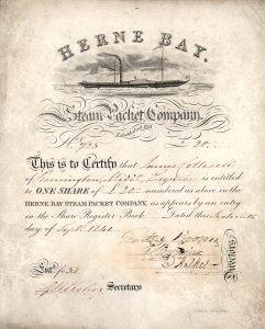 Herne Bay Steam Packet Company, Aktie von 1841, auf Tierhaut gedruckt