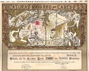Hilaturas Navarro-Cabedo S.A., Valencia, Gründeraktie von 1927. Die Gesellschaft betrieb Textilbetriebe in Nordostspanien bis hoch nach Pamplona in der Navarra am Fuße der Pyrenäen. Lithographie mit Golddruck. Entwurf von Marco Perez (in der Platte signiert).