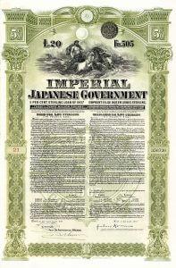 Imperial Japanese Government, Bond von 1907 über 20 £. Teil einer von der Rothschild-Bank vermittelten Anleihe von 23 Millionen £. Da Japan immer alle Schulden bezahlt hat, sind solche versehentlich nicht eingelösten Stücke per se ziemliche Raritäten.