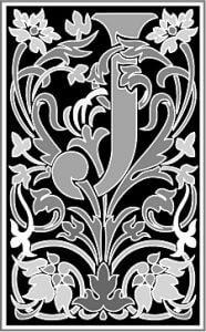 Zierbuchstabe viktorianisch schwarzweiss J
