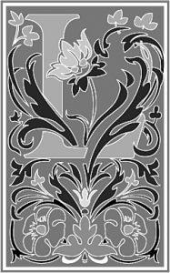 Zierbuchstabe viktorianisch schwarzweiss L