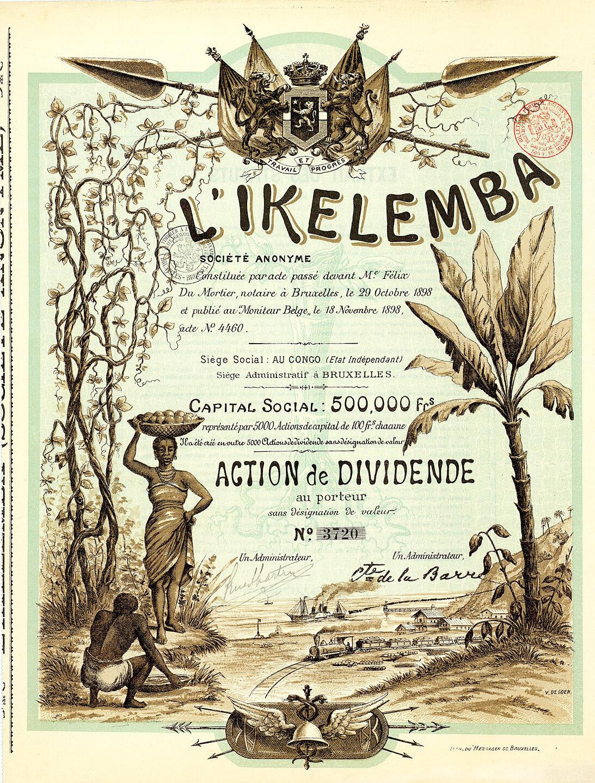 L'Ikelemba S.A., Brüssel, Gründeraktie (Action de Dividende) von 1898. Herrliche Gestaltung, ganzflächige Abb. von Palmen, Eisenbahn, Schaufelraddampfer, Schwarzafrikaner. Das Unternehmen betrieb Plantagenwirtschaft in Belgisch-Kongo.