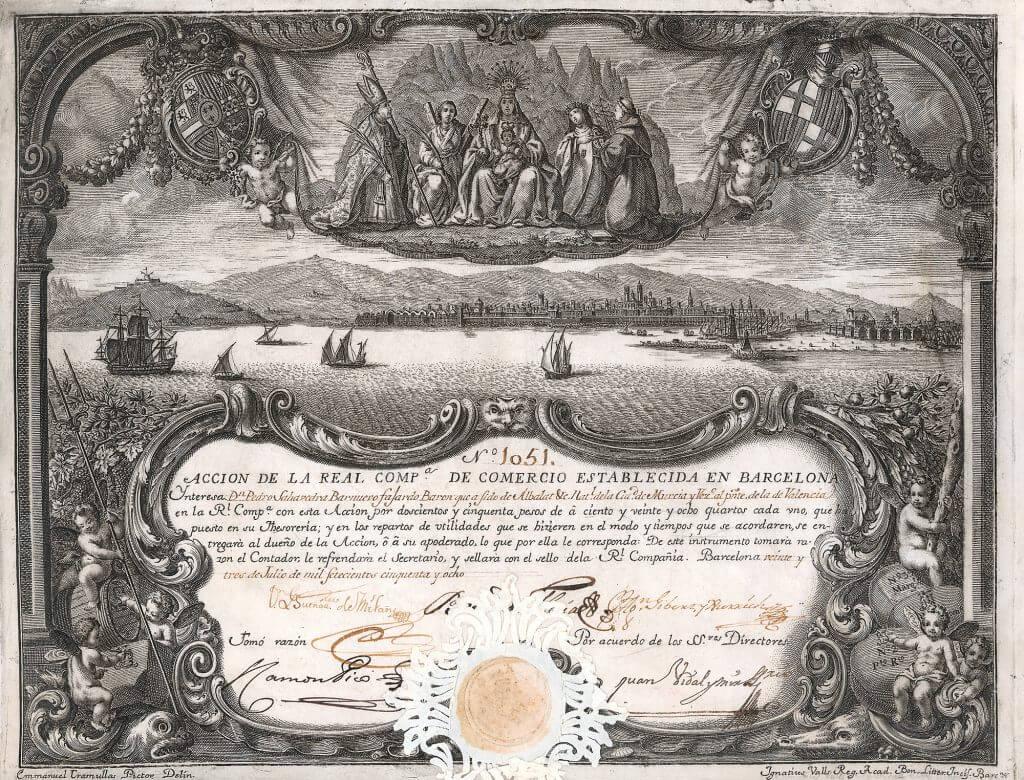 Kipfer E 48 La Real Comp. de Comercio Establecida en Barcelona, Aktie von 1758.