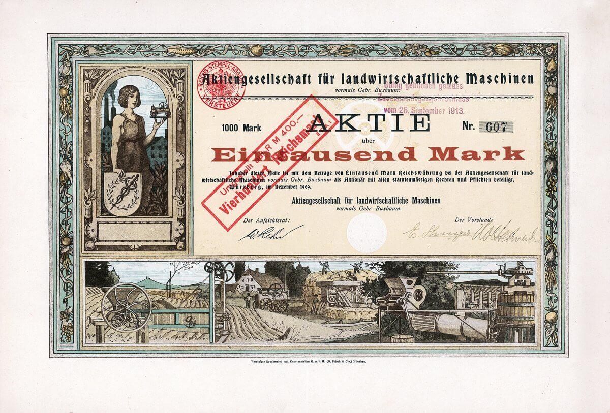 AG für landwirtschaftliche Maschinen vormals Gebr. Buxbaum, Würzburg. Aktie über 1000 Mark von 1909. Gründung 1899 zur Übernahme der Fabrik der Gebr. Buxbaum, seinerzeit die größte süddeutsche Drillmaschinen-Fabrik.