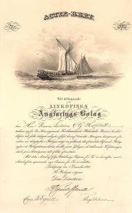 """Linköpings Angfartygs-Bolag, Gründeraktie von 1845. Das Schiff wurde im Jahr 1846 von der Werft """"Motala Verkstads"""" in Norrköping an die Gesellschaft geliefert. Der erste Kapitän des Schiffes war André Oscar Wallenberg (1816-1866), der als der eigentliche Gründer des Wallenberg-Imperiums gilt."""