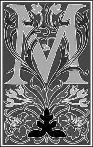 Zierbuchstabe viktorianisch schwarzweiss M
