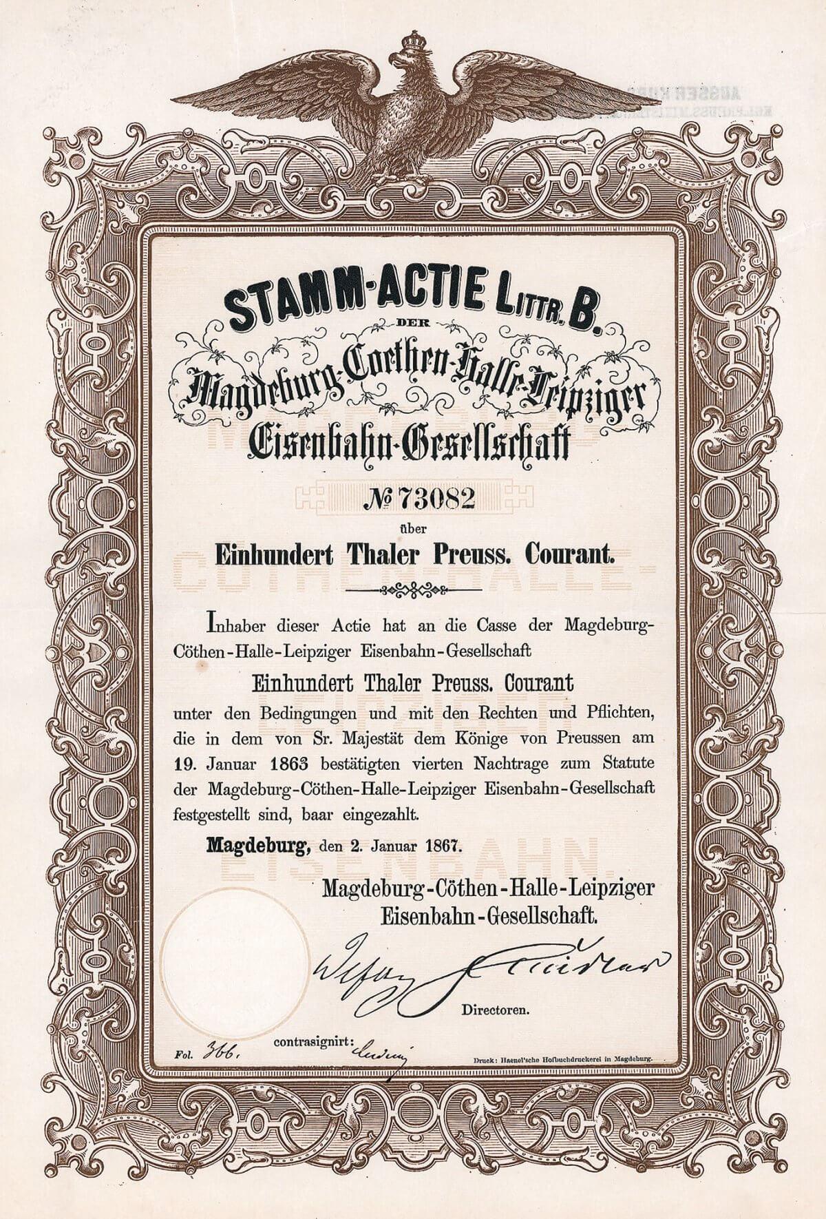 Magdeburg-Coethen-Halle-Leipziger Eisenbahn, Aktie von 1867. Mit einer aus dem Jahr 1837 datierenden Konzession eine der ältesten und erfolgreichsten deutschen Fernbahnen.