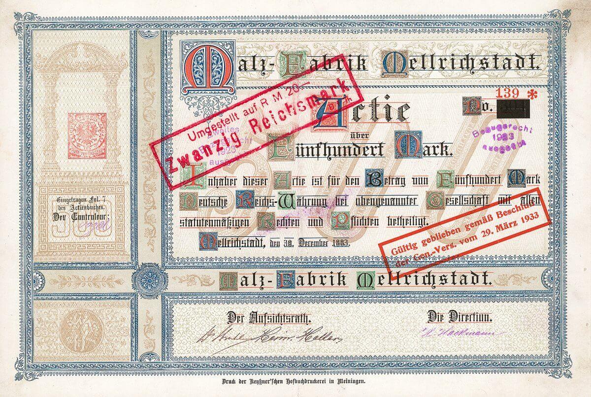 Malz-Fabrik Mellrichstadt, Gründeraktie über 500 Mark von 1883. 1945 Beschlagnahme der Fabrik zur Unterbringung von Flüchtlingen. 1948 wurde der Betrieb teilweise wieder freigegeben.