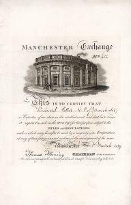 Manchester Exchange, Aktie der Börse von Manchester aus dem Jahr 1839