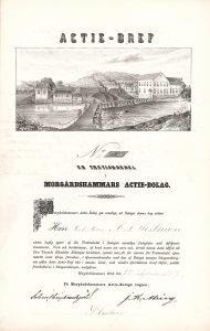 Morgardshammars Actie-Bolag, Gründeraktie von 1857. 1894 wurden die Werksanlagen der Gesellschaft von der Morgardshammars Mekaniska Verkstads AB übernommen. In den 1970er Jahren übernahm die Volvo-Gruppe die Morgardshammar AB, 1987 wurde sie an den italienischen Stahlgiganten Danieli & C. SpA. verkauft.