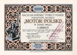 """""""Motor Polski"""" Towarzystwo Akcyjne, Znin, Aktie über 10.000 polnische Mark von 1922."""