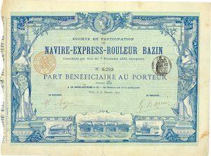 Navire-Express-Rouleur Bazin, Paris, Part Bénéficiaire von 1893: Das rollende Schiff