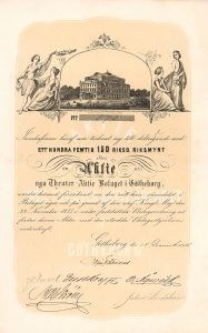 Nya Theater-AB, Göteborg, Gründeraktie von 1855. Dekoratives Papier mit Ansicht des prächtigen neuen Theaters, umrahmt von Schauspielern, Lithographie von Bror Karl Malmberg (1818-1877).