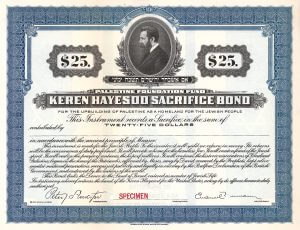 Palestine Foundation Fund, Keren Hayesod Sacrifice Bond von 1922