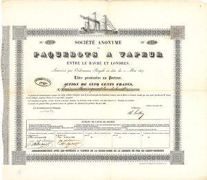 S.A. des Paquebots à Vapeur entre Le Havre et Londres, Le Havre, Gründeraktie von 1837