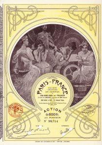 Paris-France S.A., Aktie von 1924. Bekanntes, 1898 gegründetes Kaufhaus am Pariser Boulevard Voltaire. Die hochdekorative Aktie wurde vom berühmten Jugendstil-Künstler Alfons Maria Mucha (Signatur in der Platte) gestaltet, ein Freund der Familie des Kaufhausbesitzers.