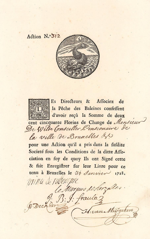 La Peche des Baleines, Brüssel, Aktie über 250 Florins von 1728. Zweck der Gesellschaft war der Fang von Walen vor Grönland und Spitzbergen sowie der Handel mit den gewonnenen Produkten. Heimathafen der fünf Walfangboote der La Peche des Baleines war Oostende.